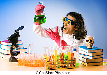 實驗, 解決方案, 實驗室, 化學家