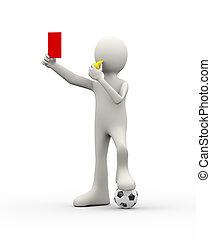 審判員, 提示, 笛, 決定者, カード, 赤, 3d
