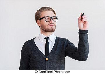 寫, 上, 透明, 擦, board., 漂亮, 年輕人, 在, 眼鏡, 保持, 武器穿過, 以及, 當時, 站立,...