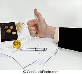 寫, 稅, 鋼筆, 文件, 人