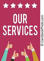 寫, 筆記, 顯示, 我們, services., 事務, 相片, showcasing, the, 職業, 或者, 功能, ......的, 服務, 無形, 產品, 人, 婦女, 手, 上的姆指, 贊成, 星, 資訊, 紫色, 背景。