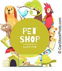 寵物, 商店, 框架, 背景