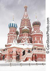 寺庙, 圣, 降雪, 莫斯科, 进入, basil, 在期间, 冬季, russia