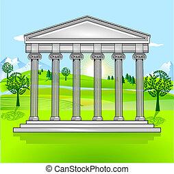 寺院, そして, 無料で, 風景