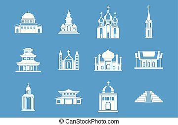 寺院, アイコン, 青, セット, ベクトル