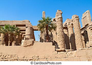 寺院, エジプト, 台なし, karnak