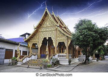 寺院, 上に, タイ人, 雷雨