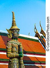 寺院, 宮殿, 保護者, phra, kaew, -, 仏, 壮大, ワット, バンコク, タイ, エメラルド, 悪魔