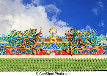 寺院, 屋根, 中国のドラゴン