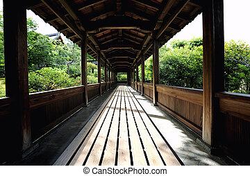 寺院, 庭, 京都, 日本語, 歩きなさい, 木, 方法, 日本