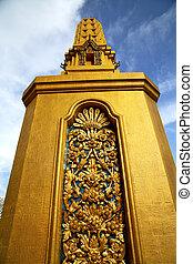 寺院, 抽象的, 金属, 金, バンコク, タイ, 交差点