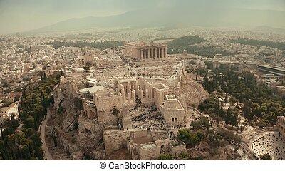 寺院, 航空写真, アクロポリス, 光景, アテネ, ギリシャ, parthenon