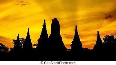 寺院, ayutthaya, siluate, タイ, chaiwatthanaram