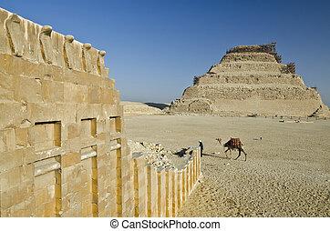 寺院, saqqara, ピラミッド, 壁, djoser, コブラ