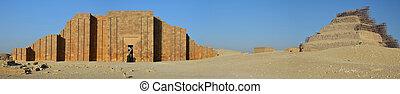 寺院, saqqara, ピラミッド, 壁, djoser