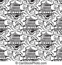 寺院, seamless, アジア人