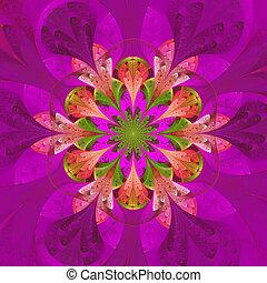 対称である, パターン, 中に, ステンドグラス, 窓, style., 紫色, palett