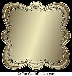 対称的, フレーム, 金属, (vector), 銀のようである