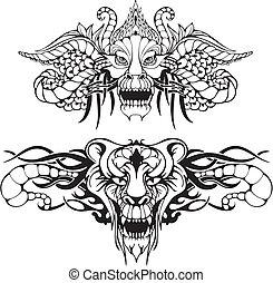 対称的, 入れ墨, 動物