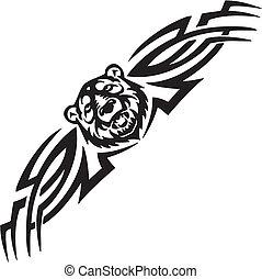 対称的, illustration., -, 熊, tribals, ベクトル