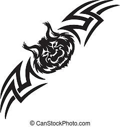 対称的, illustration., -, tribals, ベクトル, オオヤマネコ