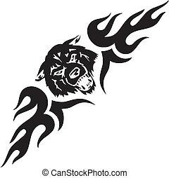 対称的, illustration., -, tribals, ベクトル, 狼