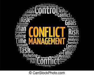 対立, ビジネス, 雲, 概念, 単語, 管理