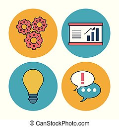 対話, グラフィック, ビジネス, カラフルである, アイコン, ライト, 円, フレーム, 経済, 背景, 成長する, 電球, 泡, 企業である, 白, ピニオン