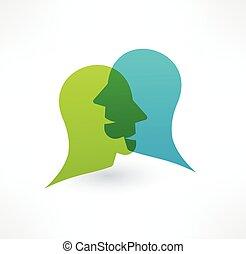 対話, concept., 共同体, ロゴ, icon., design.