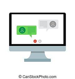 対話, sms., online., ネットワーク, 話し。, 社会, 談笑する, ベクトル