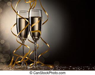 対, ガラス, シャンペン