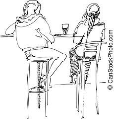 対, テーブル, 青年