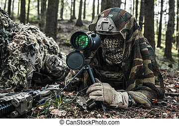 対, レンジャーズ, 軍隊, 狙撃兵