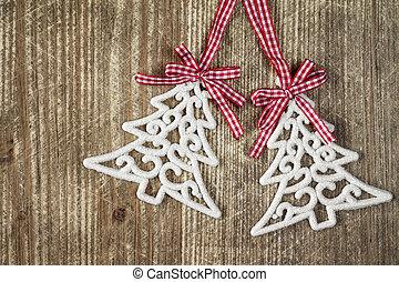 対, 木, クリスマス安っぽい飾り