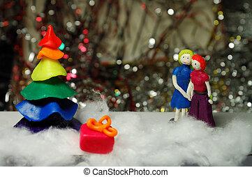対, 木, クリスマス