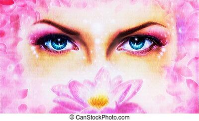 対, 目, 女性, 美しい, 青