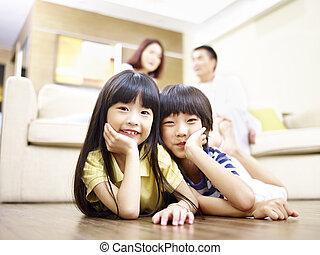 対, 肖像画, 姉妹, 兄弟, アジア人