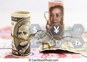 ∥対∥, 通貨, 財政, ビジネス, 紙幣, お金, ドル, 私達, 紙幣。, 概念, 成長, 陶磁器, savings., yuan, ∥あるいは∥, 山