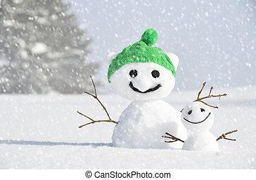 対, 面白い, snowmen
