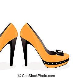 対, 靴, 黄色