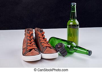 対, bottles., ビール, 靴