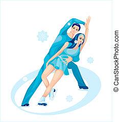 対, skating., 数字, 氷, ショー