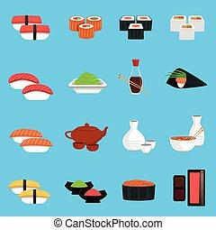 寿司, セット, アイコン