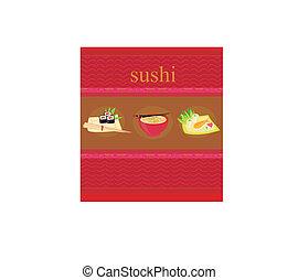 寿司, セット, イラスト, ベクトル