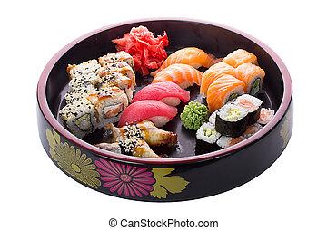 寿司, セット, 上に, 白い背景