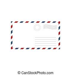 封筒, の上, mock