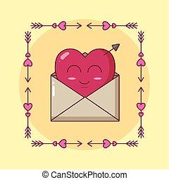 封筒, カード, 特徴, 日, 心, バレンタイン