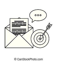 封筒, スピーチ泡, ターゲット, メール