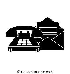 封筒, メール, そして, 電話