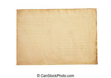 封筒, 白, 古い, 隔離された, レトロ